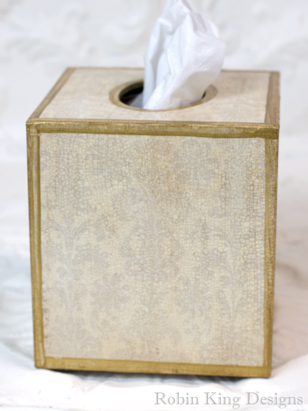 Damask Linen Tissue Box Cover