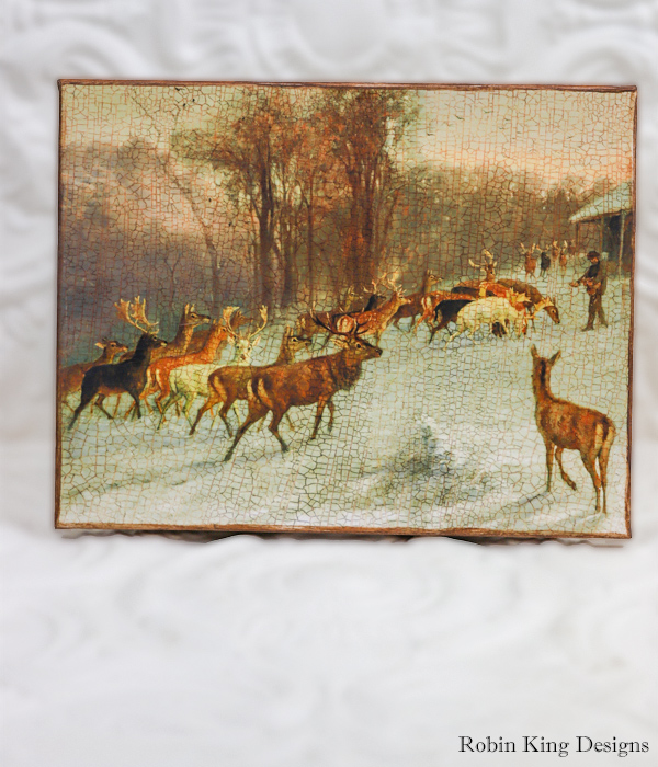 Man Feeding Deer 8 by 10-inch Decoupage Canvas Art