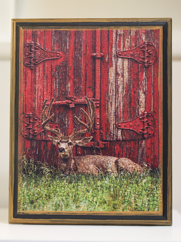 Mule Deer in Front of Red Barn Wall Art