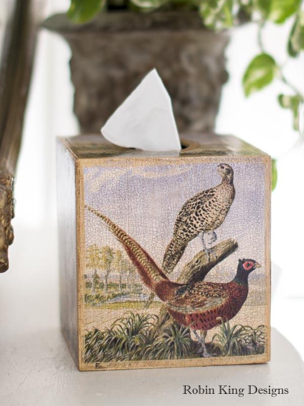 Pheasant Pair Tissue Box Cover