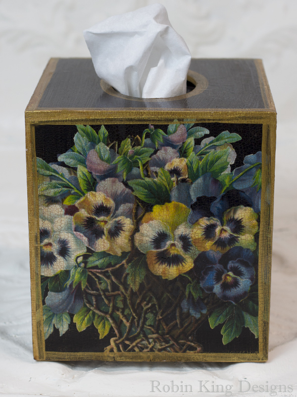 Pansy Tissue Box Cover on Black