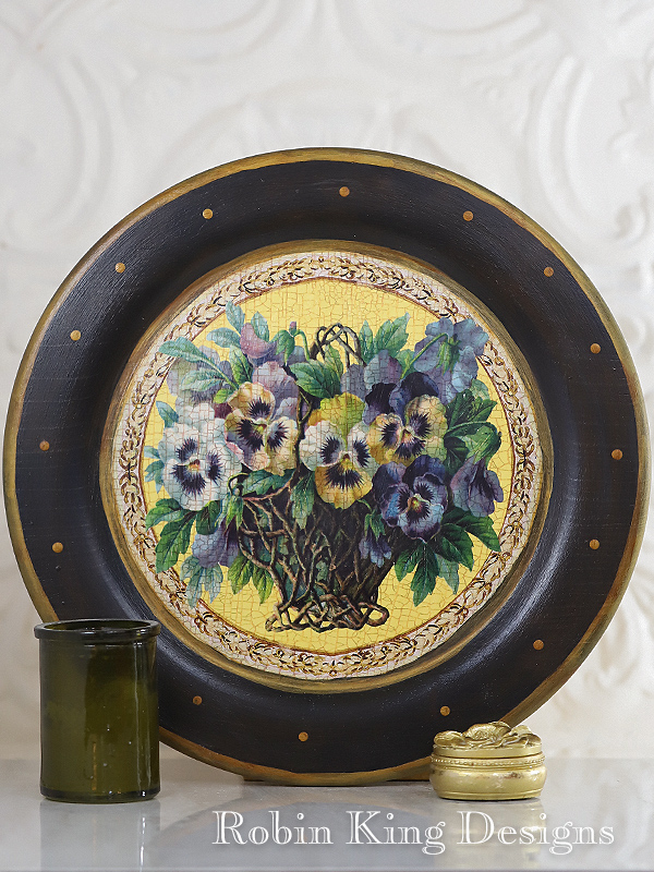 Pansy Decorative Wood Plate