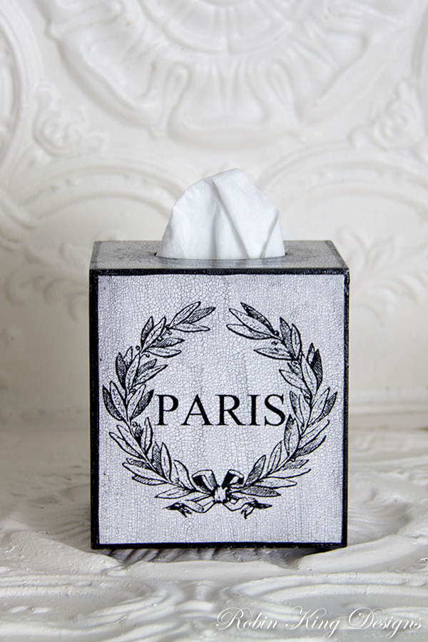 Paris Laurel Wreath Tissue Box Cover