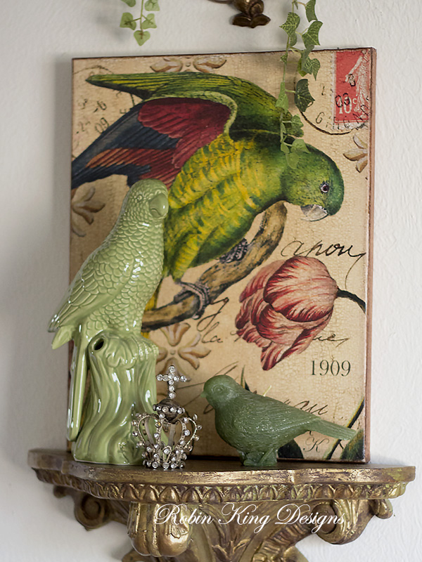 Parrot Collage 8 by 10-inch Decoupage Canvas Art