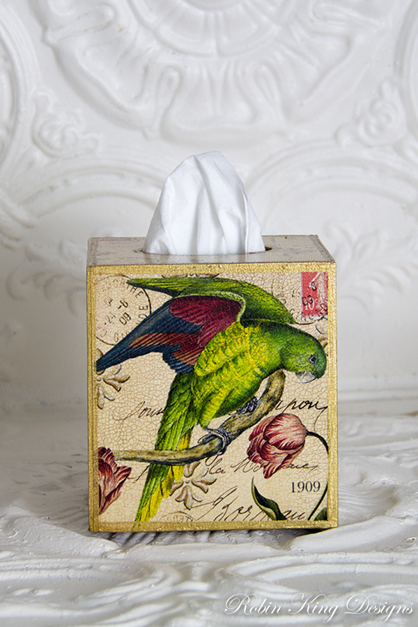 Parrot Collage Tissue Box Cover