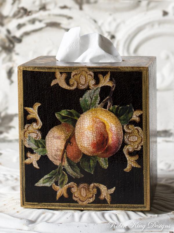Peach Tissue Box Cover