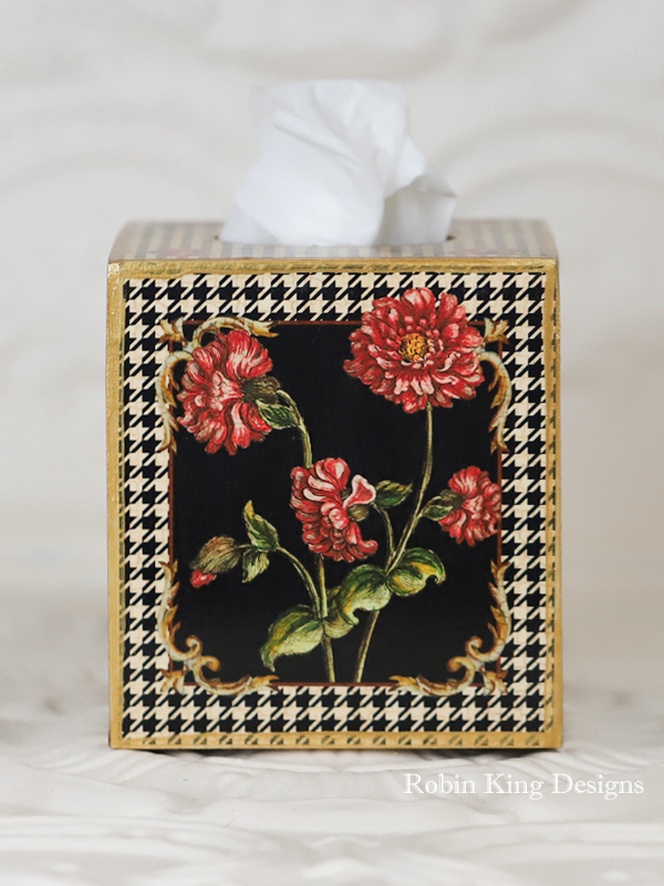 Pink Flowers on Black and White Houndstooth Tissue Box Cover