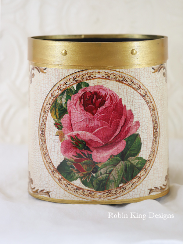Pink Rose Wastepaper Basket on Ivory
