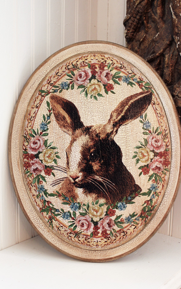 Rabbit Plaque Rose Border