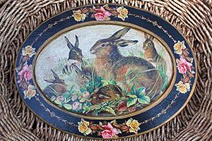 Rabbit Roses Black  Platter