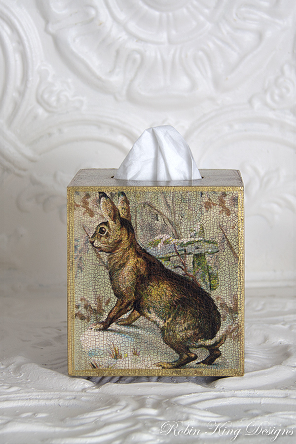 Rabbit Collage Tissue Box Cover