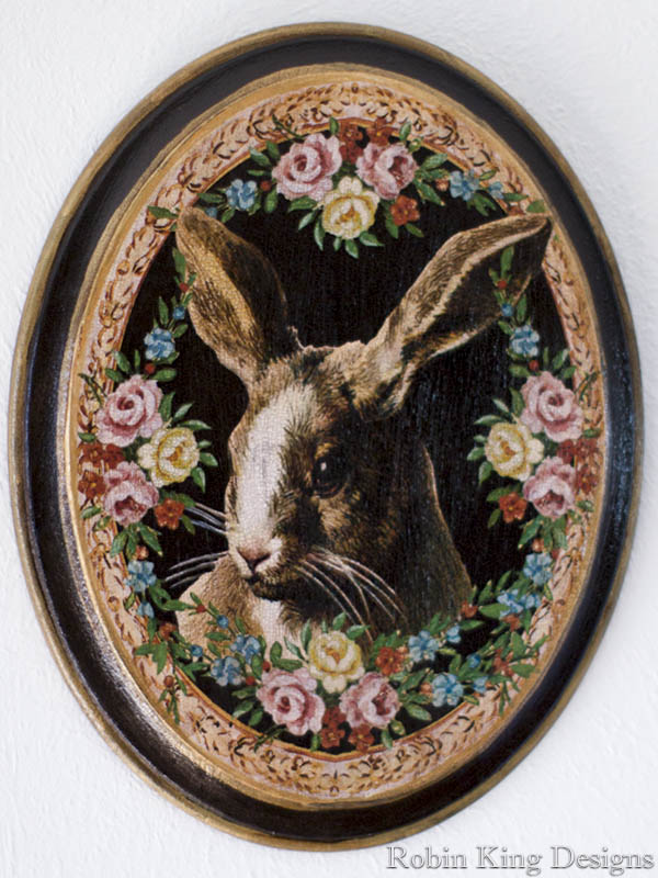 Rabbit with Rose Border Plaque on Black