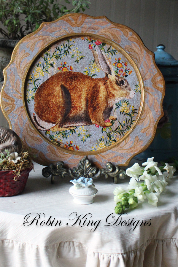 Rabbit on Blue Scalloped Plate