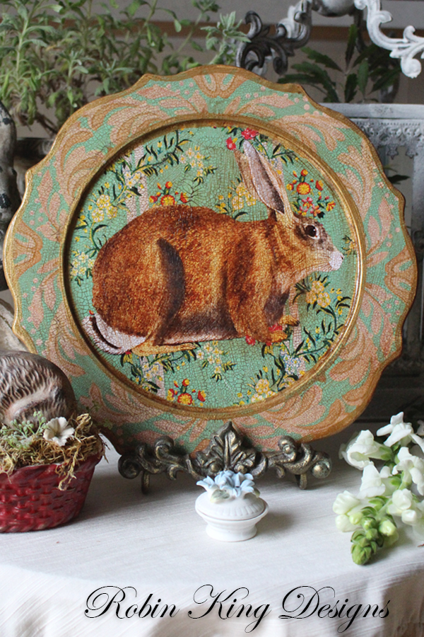Rabbit on Mint Scalloped Plate