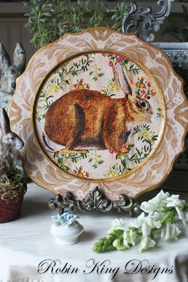 Rabbit on Ivory Scalloped Plate