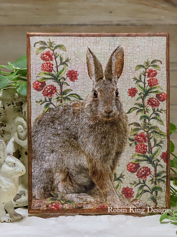 Rabbit in Garden Canvas Art 8 by 10 inches
