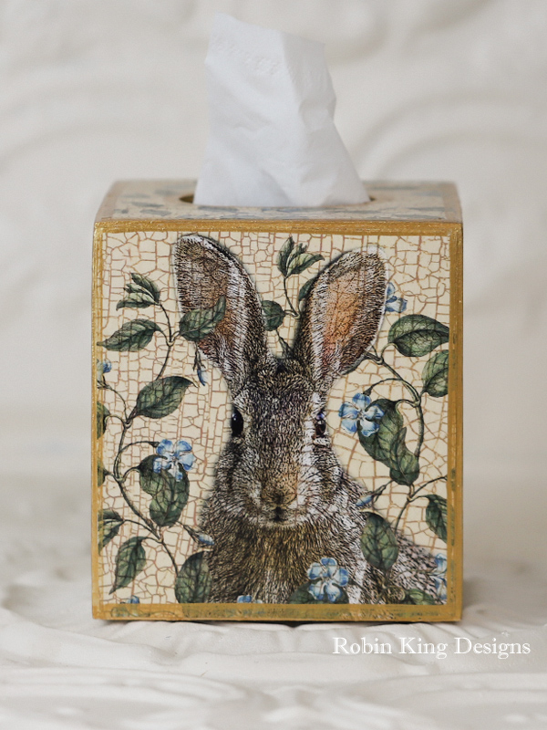 Rabbit with Antique Periwinkle Tissue Box Cover