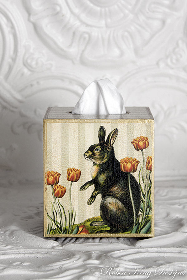 Rabbit on Stripe with Tulips Tissue Box Cover