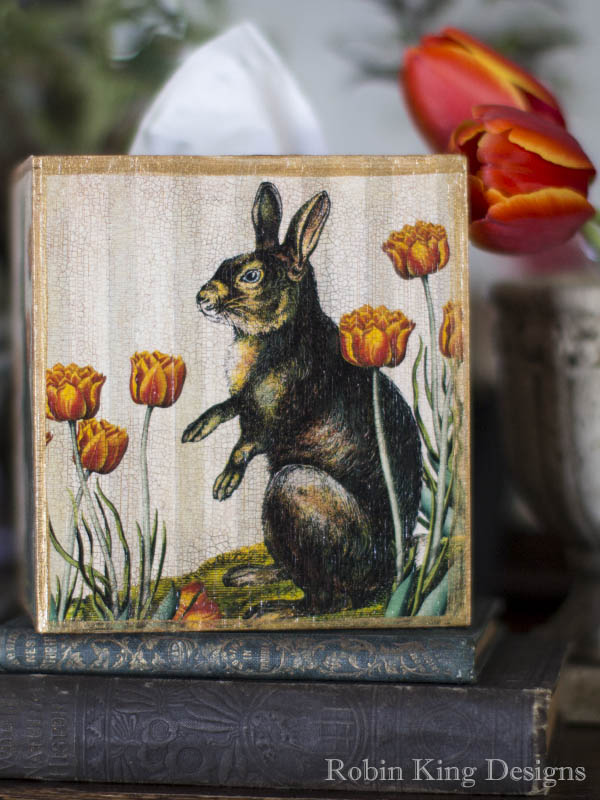Rabbit with Tulips Tissue Box Cover