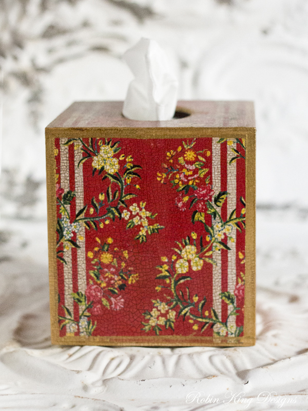 Red Dauphine Tissue Box Cover