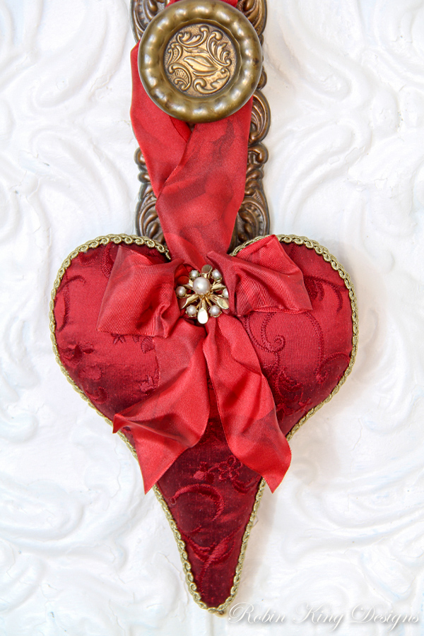 Red Embroidered Silk Lavender Heart Sachet
