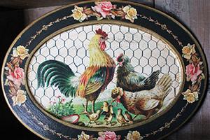 Rooster Roses Black Platter