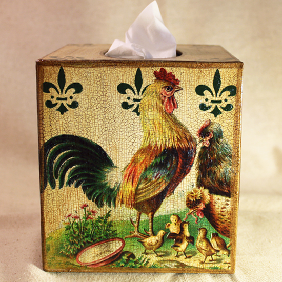 French Rooster Family Tissue Box Cover