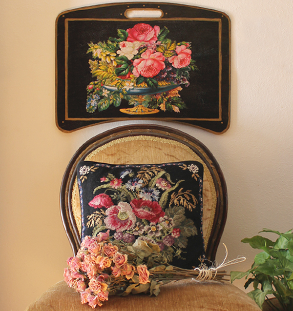 Beautiful Floral Writing Desk on Black