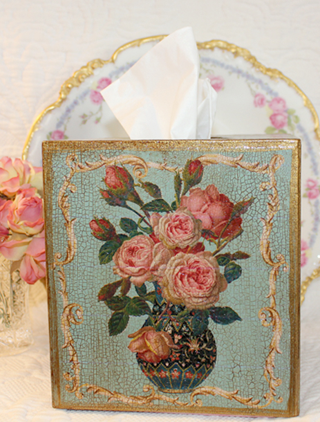 Roses in Vase Tissue Box Cover