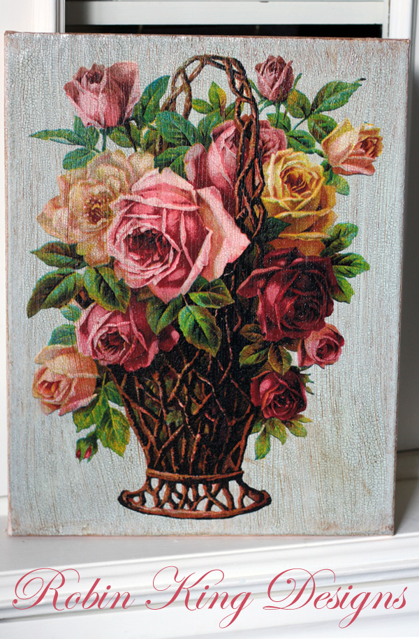 Roses in Basket 8 by 10-inch Decoupage Canvas Art