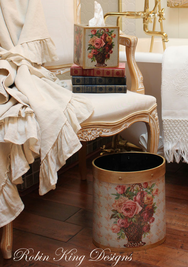 Roses in Basket Wastepaper Basket