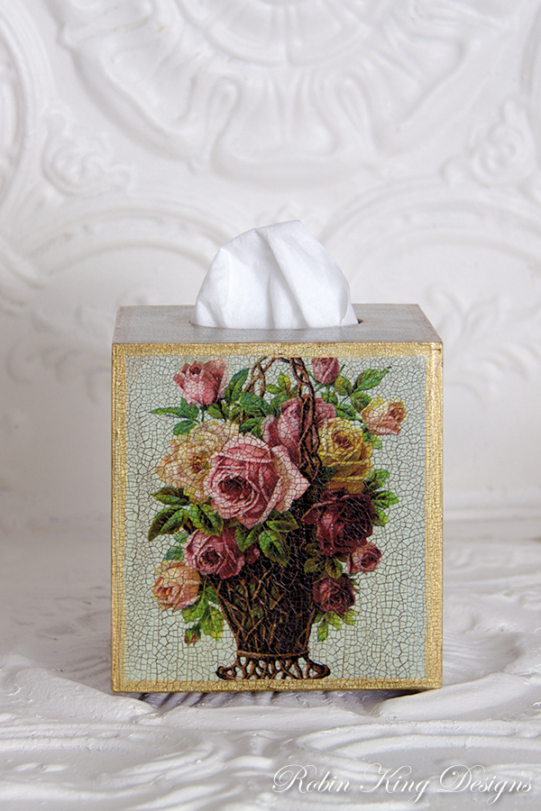 Roses in Basket Tissue Box Cover
