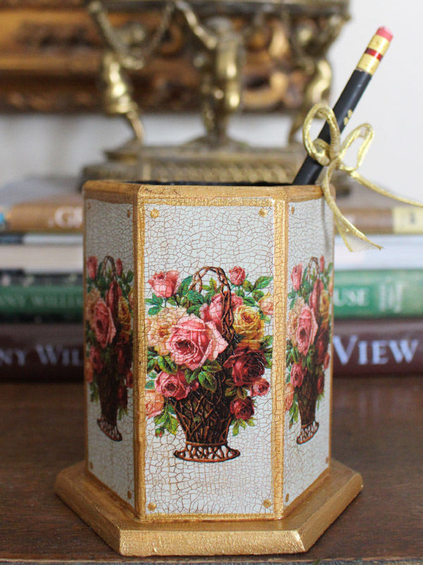 Roses in Basket Pencil Holder