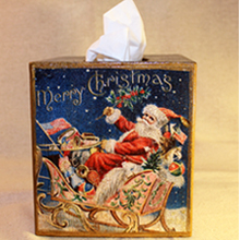 Santa Tissue Box Navy