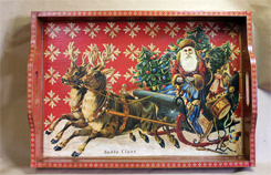 Santa Sleigh on Red 14 by 20 inch Decoupage Wooden Tray