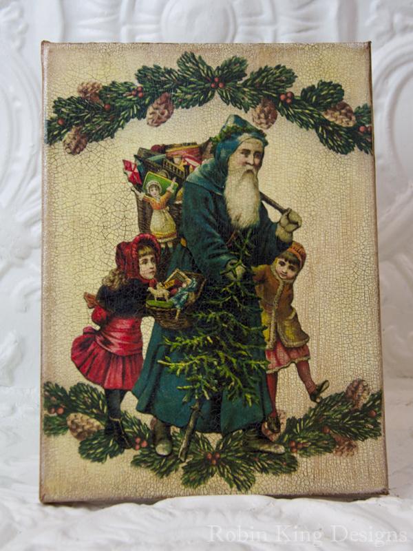 Santa Walking with Children 8 by 10 Inch Canvas