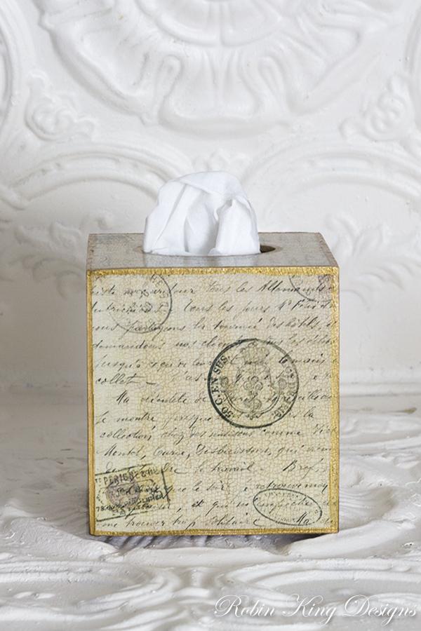 Antique Script Tissue Box Cover