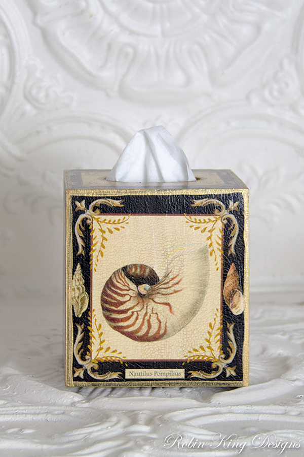 Shell Design with Black Tissue Box Cover