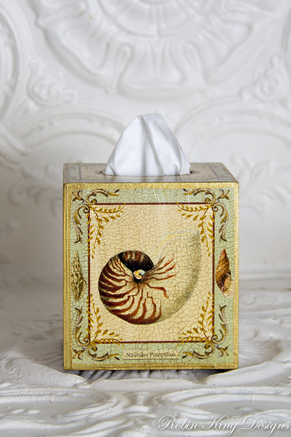 Shell Design with Light Aqua Tissue Box Cover