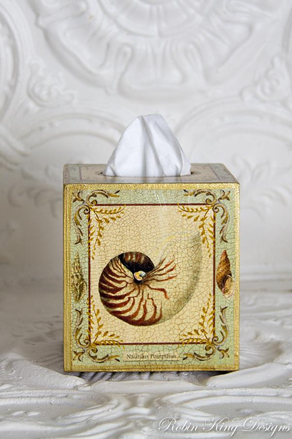 Shell Design with Light Aqua Tissue Box Cover