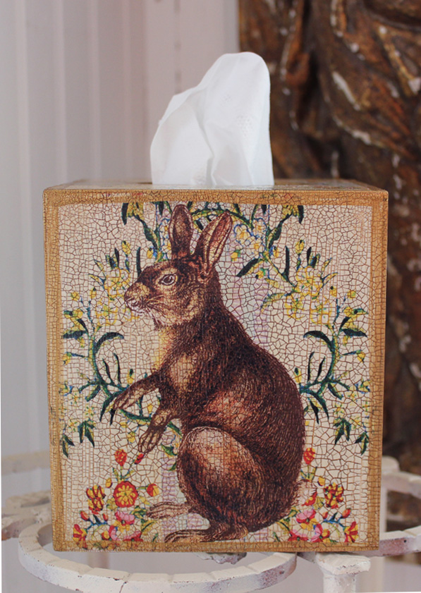 Sitting Rabbit Tissue Box Cover on Floral Pattern