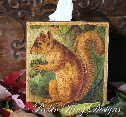 Squirrel in Tree Tissue Box Cover