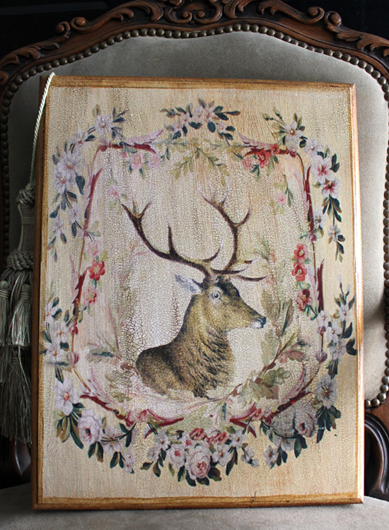 Stag Floral  Design Plaque