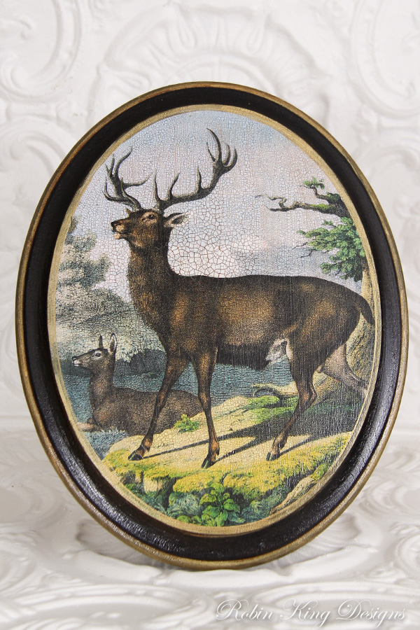 Stag Oval Wood Picture