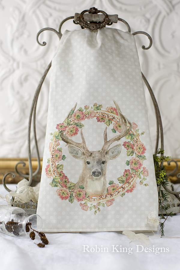 Stag in Wreath of Hollyhocks Tea Towel