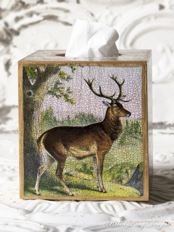 Stag in Forest Tissue Box Cover