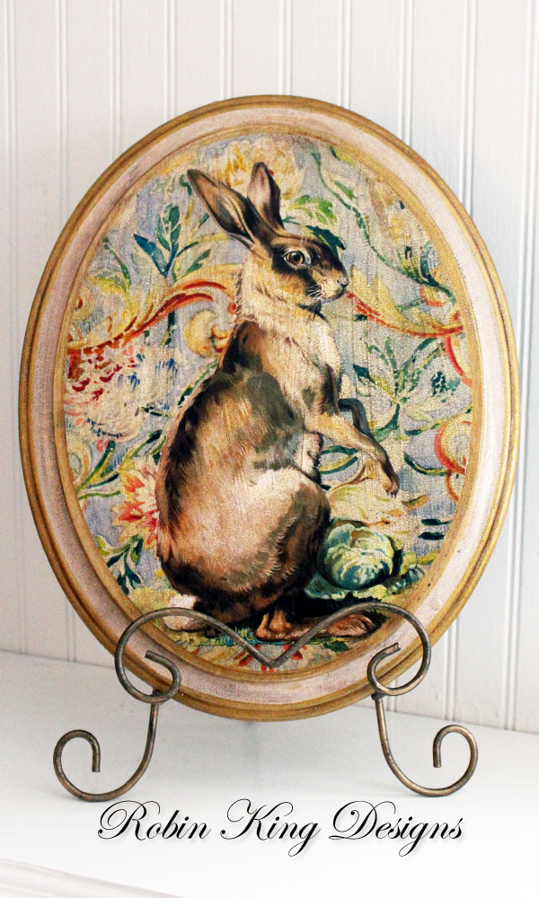 Standing Hare in Scrolls Oval Plaque