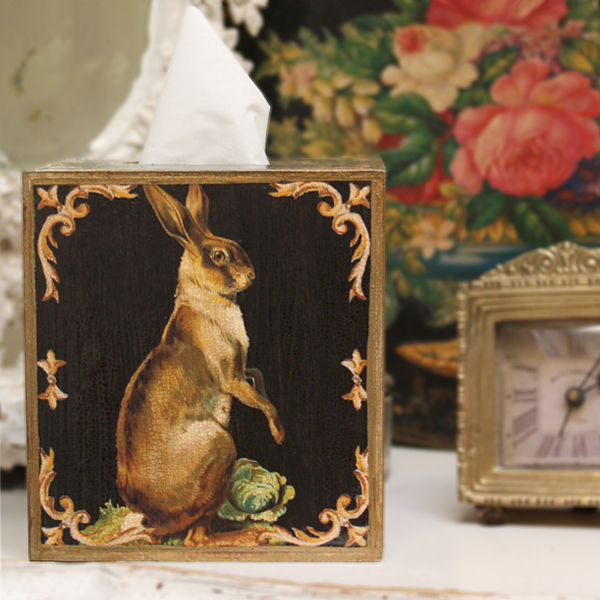 Standing Hare on Black Tissue Box Cover