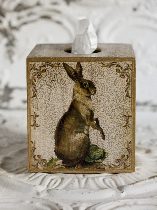 Standing Hare Tissue Box Cover Ivory