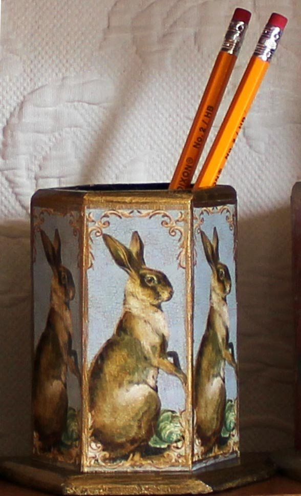 Standing Hare on French Blue Pencil Holder